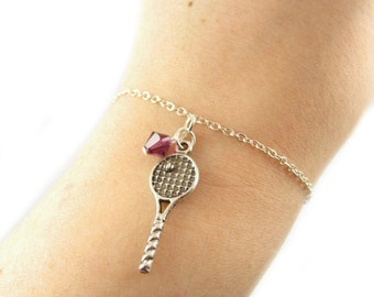 Tennis Bracelet- choose a birthstone, Tennis Jewelry, Tennis Charm, Tennis Gift, Tennis Racquet, Silver Tennis Bracelet, Tennis Birthstone
