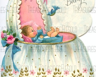Retro A New Baby In A Bassinet Cradle Card #556 Digital Download