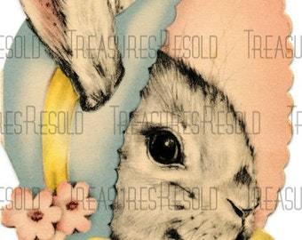 Bunny Wearing A Bonnet Easter Card #185 Digital Download