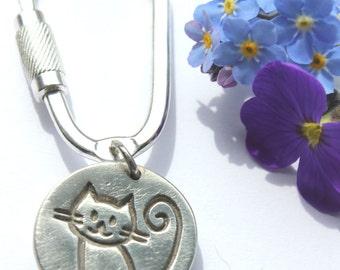 Silver cat keyring, cat keychain, sterling cat key chain, silver key chain, silver keychain, cat keyring, kitty keyring, cat lover gift