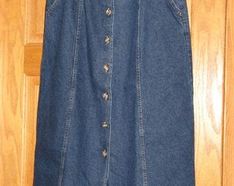 "Women's 14 Petite ""Hunt Club"" Dark Wash, Straight Cut Denim Skirt, FREE SHIPPING"