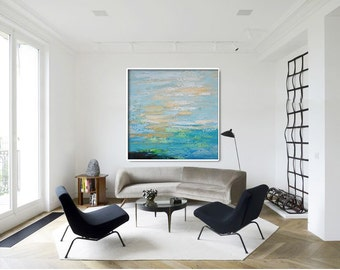 Original Artwork Extra Large Abstract Painting, Acrylic Painting Canvas Art Hand Painted. Blue, yellow, beige, green.