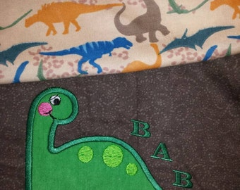 Boy baby blanket dinosaur Dino themed embroidery Applique flannel reversible