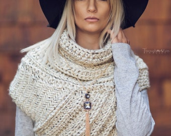 Katniss Inspired Cowl - Huntress Cowl Vest Scarf- Handmade- Knit -Crochet- Sweater-Unique- Bohemian Vintage Rustic -Knit Sweater- Cross Body