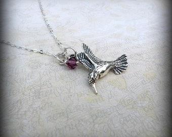 Hummingbird necklace, Sterling silver bird necklace