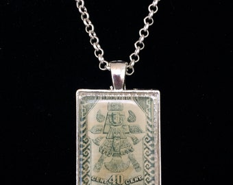 Aztec Mexican Postage Stamp Necklace
