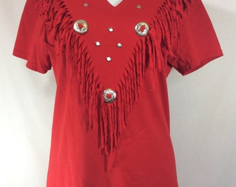 Womens 1980s Red Cotton Fringe V-neck Western Tee with Silver Studs and Buckles size S/M