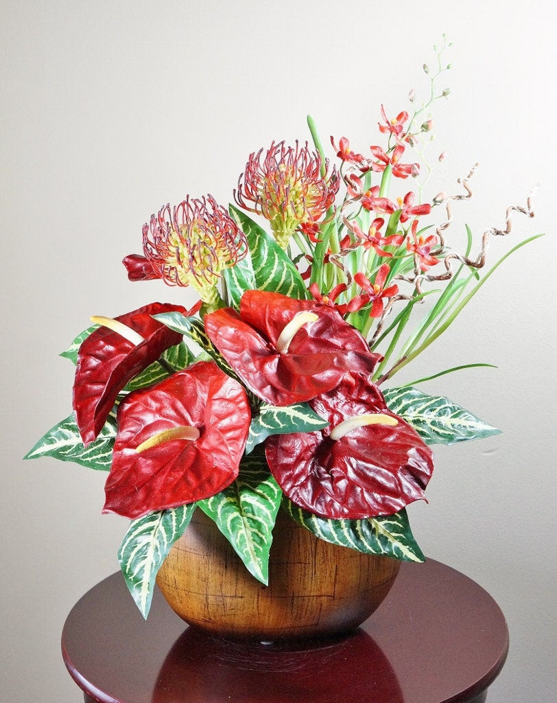 Floral arrangements anthurium protea and orchids home