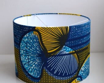 Blue,Yellow/Mustard/Black/Graphic Lampshade- 100% African Wax Print Cotton-30cm Drum
