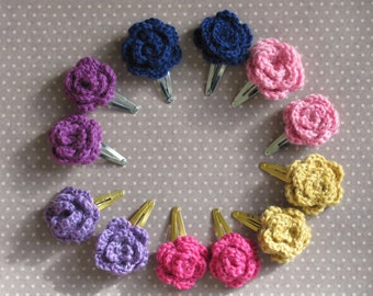 Crochet Roses Hair Clip, Crochet Hair Clips