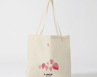 X109Y Tote bag ballon, sac en toile, sac de courses, de cours, sac à offrir, sac graphique, illustration, rose, cabas, sac en coton,