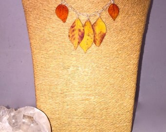 Sterling Silver necklace with Real Pressed Hanging Autumn Leaves 'Fall'