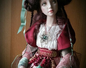 In expectation of Christmas - Сollectible Art doll - Christmas gift