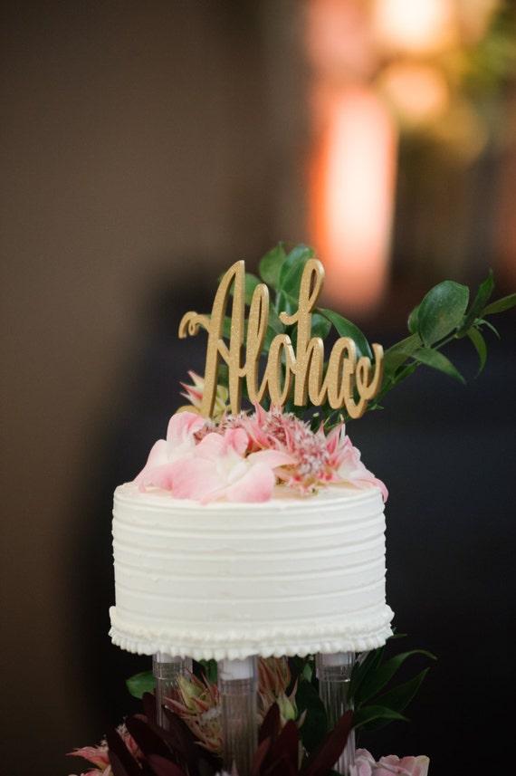 Aloha Cake Topper, Rose Gold Wedding, Wedding Cake Topper, Destination Wedding, Overseas Wedding, Hawaiian Party, Hawaii Decor