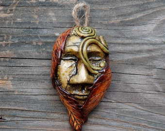 Polymer Clay Nature Spirit Mask, Orange Leaf Green Spiral Miniature Sculpture, Green Man, Pagan Decor, Handmade OOAK, Earthy Forest Art