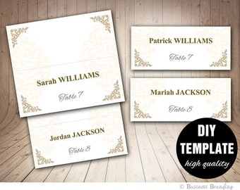 Printable Wedding Placecard Template 3.5x2 Foldover, DIY Gold Placecard, Instant Download,Microsoft Word Template,Wedding Seating Placecards