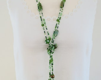 Long Necklace, Long Beaded Necklace, Green Necklace, Glass Bead Necklace, Flapper Necklace, Long Glass Bead Necklace, Two Strand Necklace