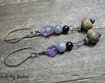 Rustic Gemstone Earrings, Fairy Garden, Artisan Lampwork Glass, Sterling Silver, Purple Green, Boho, Gypsy, Bohemian Jewelry, Handmade