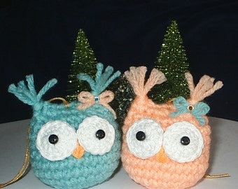 BABY OWL TWINS - Hand Crochet Ornaments - Set of 2 - Peach & Mint - Holiday, Christmas, Tree