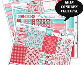 Peppermint Winter Stickers, Weekly Planner Kit 200+ Winter Planner Stickers, for Erin Condren Sticker, December Planner Sticker #SQ00317-ECV