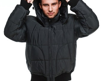 Mens quilted puffer jacket with detachable hood  / M. 1309