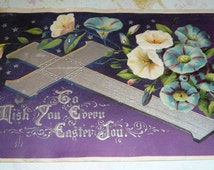 Silver Cross With Lovely Morning Glories Antique Easter Postcard