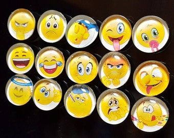 Set of 15 Strong Glass Emoji Magnets, Bright, Colorful, Emoticon Refrigerator Magnets, Kitchen, Office, Locker Decor, Face, Emotion Magnets