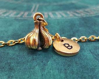 Garlic Necklace VERY SMALL Garlic Jewelry Personalized Jewelry Garlic Pendant Vampire Necklace Monogram Necklace Gold Garlic Charm Necklace
