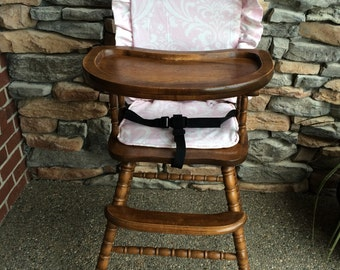 Wooden Highchair Cover/Pad/Cushion:  Baby Pink Cushion for wooden/vintage highchairs.  Removable foam for easy washing.  Monogramming.
