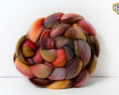 Combed Top Spinning Felting Fiber Hand Dyed 4 oz Corriedale Wool - Peach, gray, gold, brown, fawn