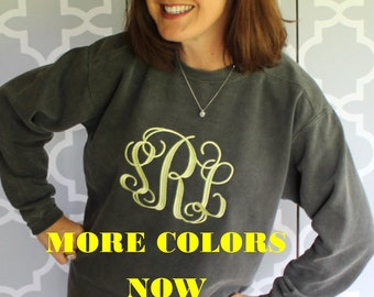 Comfort Colors Sweatshirt with LARGE CENTER FRONT Intertwined Monogram