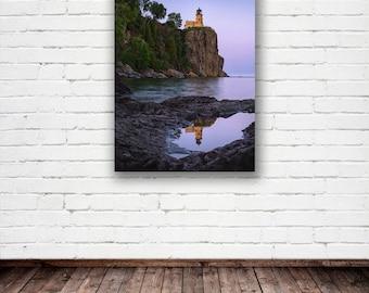 "Minnesota Fine Art Canvas, ""Split Rock Reflection"", Lighthouse, Duluth, Lake Superior - Travel Photography, Wall Decor, Wall Art"