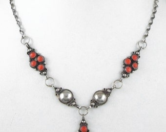 Sterling Silver Ethnic Vintage Red Coral Necklace