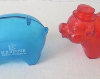 Set of 2 Mid Century Plastic Piggy/Razor Banks/Blue/Red/Equitable Savings Association/Colorado