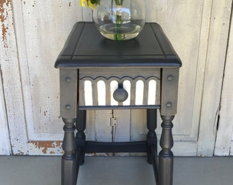 End Table, Bedside Table, Black and White, Phone Table, Whimsical Accent Table, Hand Painted Furniture, Up-cycled Furniture, French Country