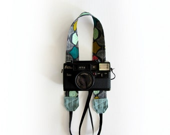 Cute camera strap, organic cotton camera strap, Grey SLR camera strap