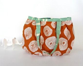 cotton bag, orange tote bag, womens shoulder bag, fabric shoulder bag, everyday tote bag,sac du potiron