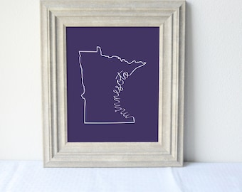 Printable Minnesota State Art Print 8x10 Digital Wall Art Gift