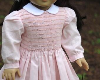 18 Inch Doll Smocked Dress - Light Pink Knee-length Doll Smocked Dress - American Made 18 Inch Doll Clothes - Heirloom Doll Dress