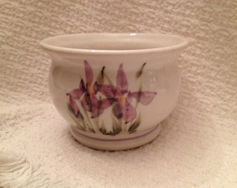 Pottery Iris Bowl,  Purple Iris Bowl, Iris Bowl, Iris Sugar Bowl, Pottery Bowl