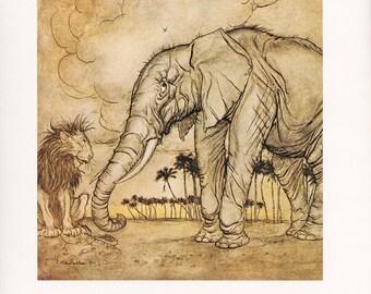 The Lion, Jupiter, and the Elephant Aesop's Fables fine art print Arthur Rackham vintage illustration  home decor 8.5x11.5 inches
