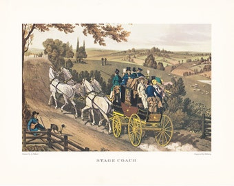 Stage Coach Carriage driving british transport horse drawn carriage vintage print illustration home office décor 9.5 x 7 inches
