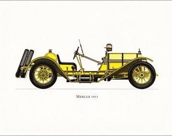 veteran car moroting yellow vintage American Mercer 1913 print illustration home office décor boy's nursery 9.5 x 7 inches