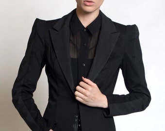 CARBON-14 BLAZER - Black Rubber - Textured - Industrial Goth - Women's Futuristic - Strong Shoulder - Lady Gaga - Cyber - Techno - Honeycomb
