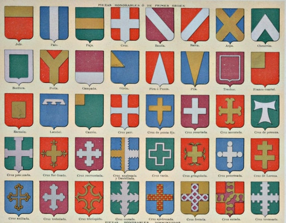 Escutcheon. Blazon. Old book plate, 1910. Antique  illustration. 105 years lithograph. 9'4 x  12'5 inches.