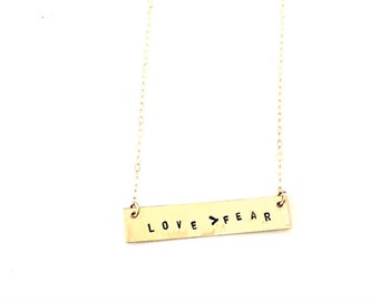 Love Over Fear Necklace, Love Over Fear Affirmation Bar, Gold Bar, Mantra Necklace, Love Wins
