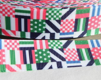"1.5"" Patchwork Grosgrain Ribbon - Grosgrain Ribbon by the Yard for Hairbows, Scrapbooking, and More!!"