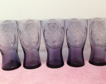 """McDONALD'S REPRODUCTION GLASSES are a Vintage Set of 5 Collectible Purple Drinking Glasses embossed with """"1955"""", """"Speedee"""" & Golden Arches"""