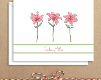 Lily Note Cards - Floral Note Cards -  Folded Note Cards - Personalized Stationery - Thank You Notes - Illustrated Note Cards