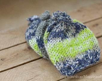 Multiples Newborn Hat Set, Triplet Knit Hat Set, Twins Knit Hat, Knot Top Newborn Hat, Newborn Stripe Hat, Knit Newborn Hat, Triplets, Twins